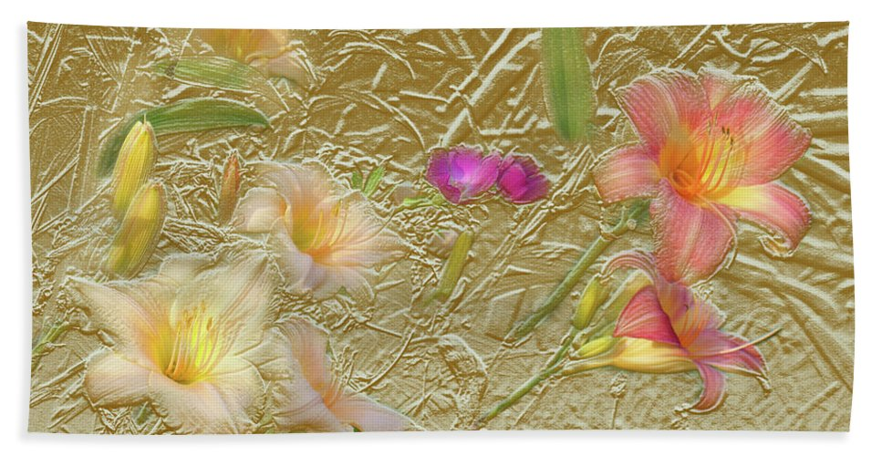 Garden Hand Towel featuring the mixed media Garden in Gold Leaf2 by Steve Karol