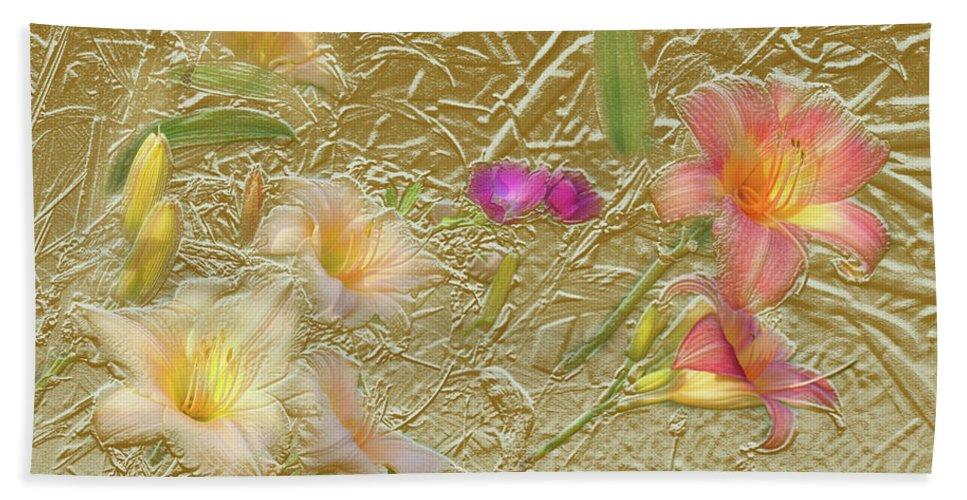 Garden Bath Towel featuring the mixed media Garden in Gold Leaf2 by Steve Karol