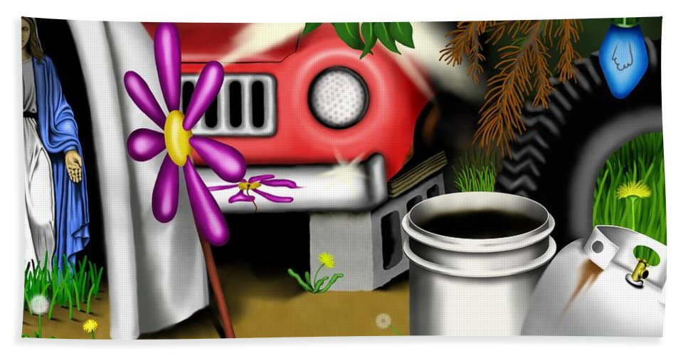 Surrealism Bath Towel featuring the digital art Garden Landscape I - Into The Trailorpark by Robert Morin