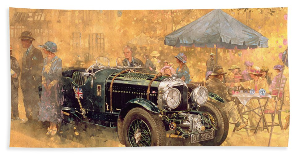 Twenties Hand Towel featuring the painting Garden Party With The Bentley by Peter Miller