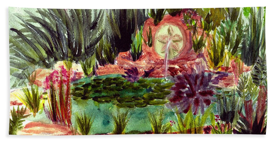 Garden Hand Towel featuring the painting Garden Path by Donna Walsh