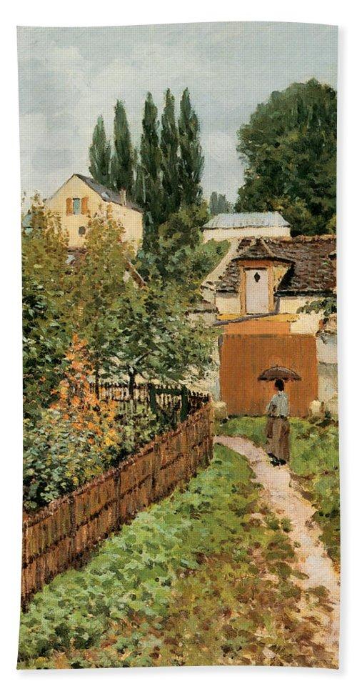 Garden Path In Louveciennes Bath Sheet featuring the photograph Garden Path In Louveciennes by Alfred Sisley