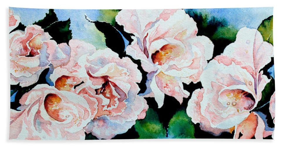 Pink Roses Hand Towel featuring the painting Garden Roses by Hanne Lore Koehler