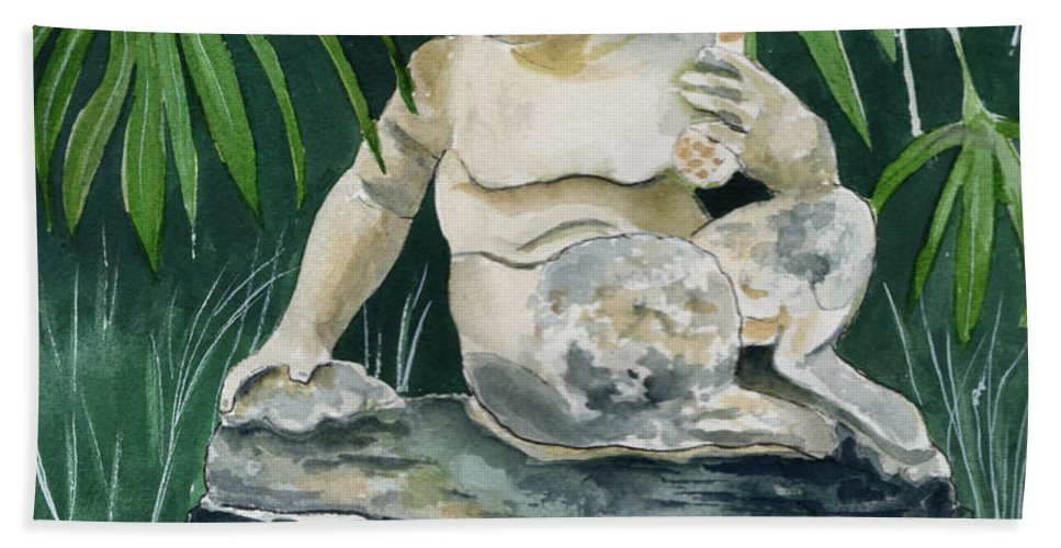 Watercolor Bath Sheet featuring the painting Garden Satyr by Brenda Owen