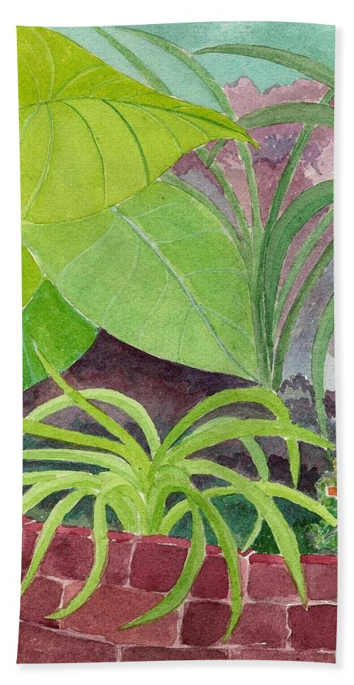 Garden Hand Towel featuring the painting Garden Scene 9-21-10 by Fred Jinkins