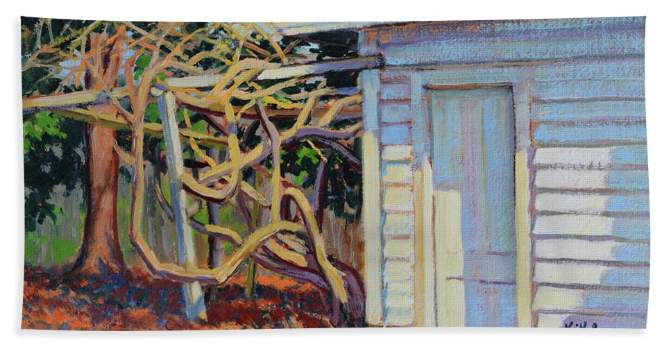 Impressionism Bath Sheet featuring the painting Garden Shed by Keith Burgess