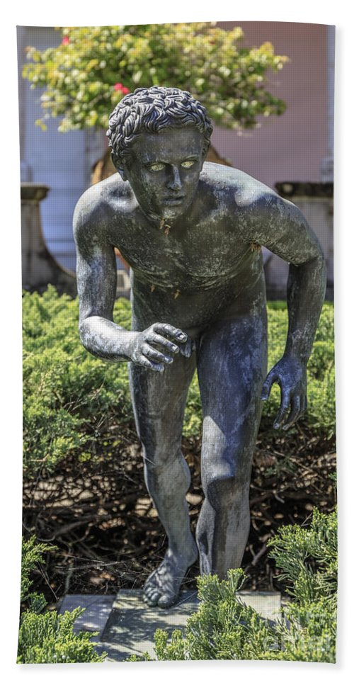 Florida Hand Towel featuring the photograph Garden Statue Ringling Museum by Edward Fielding