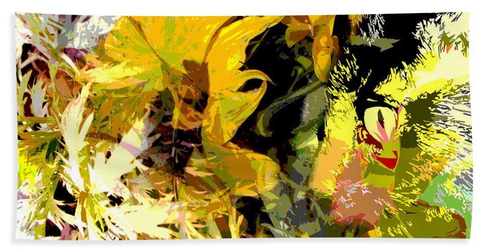 Abstract Hand Towel featuring the mixed media Garden Variety Cat by Ruth Palmer
