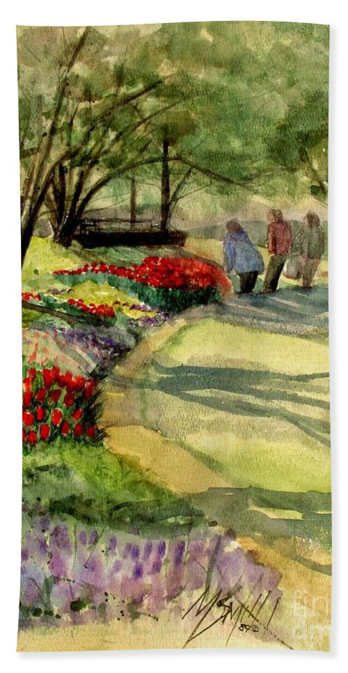 Flowers Bath Sheet featuring the painting Garden Walk by Marilyn Smith
