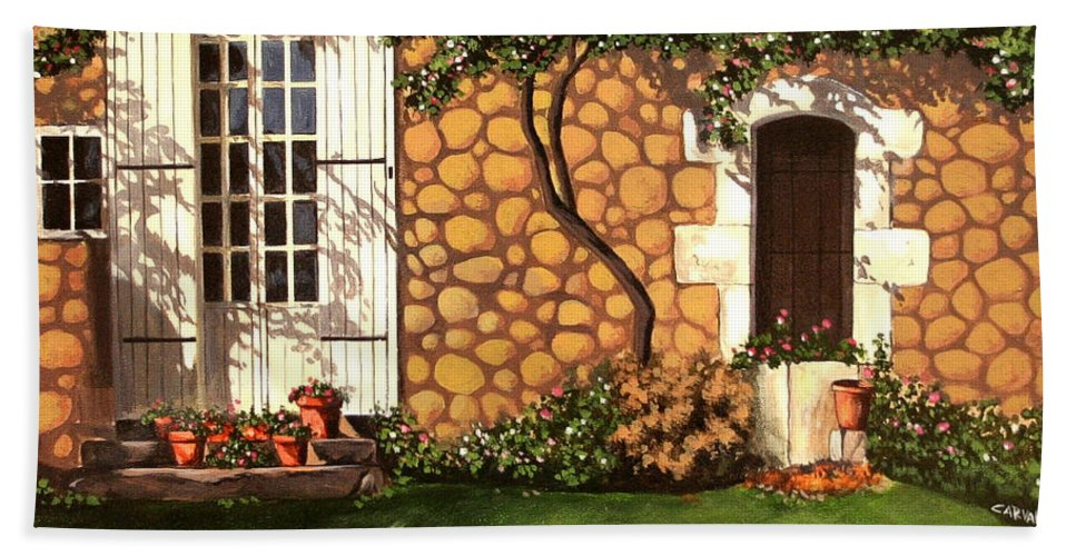 Garden Hand Towel featuring the painting Garden Wall by Daniel Carvalho