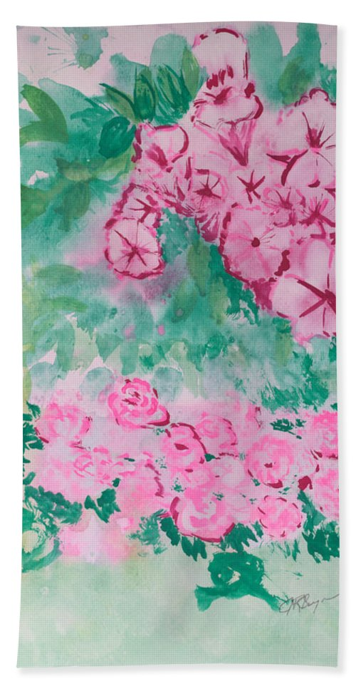 Impressionism Hand Towel featuring the painting Garden With Pink Flowers by J R Seymour