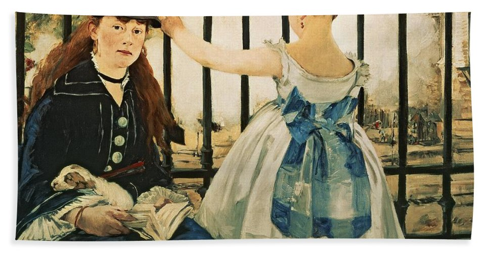 Railings Hand Towel featuring the painting Gare St Lazare by Edouard Manet