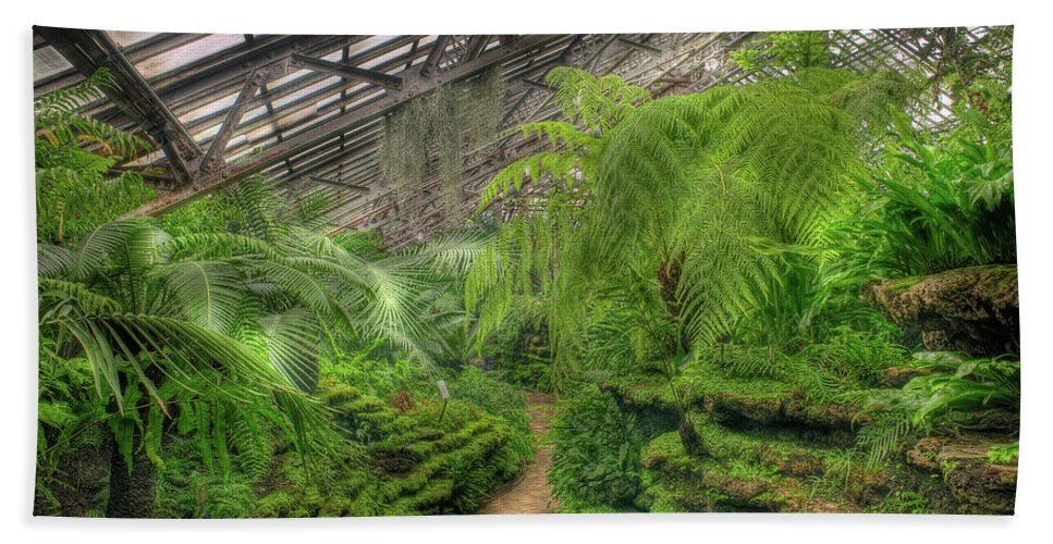 Garfield Hand Towel featuring the photograph Garfield Park Conservatory Path Chicago by Steve Gadomski