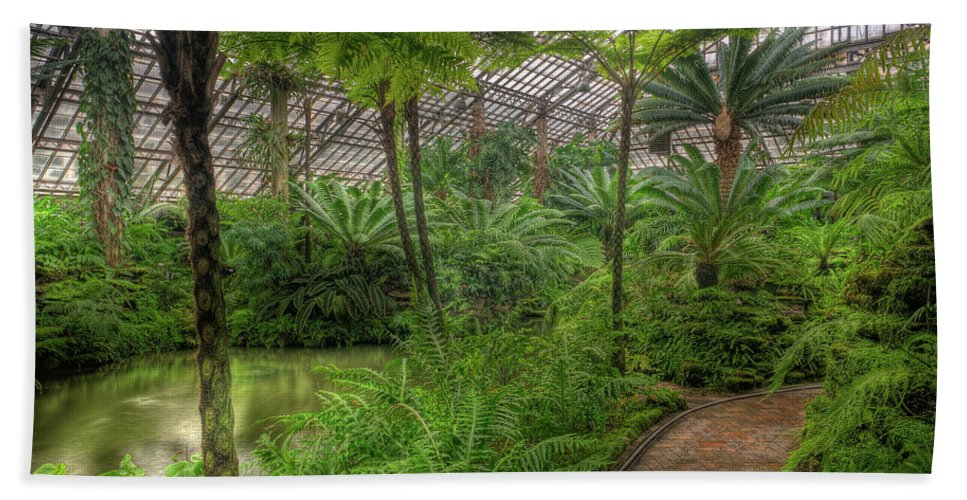 Chicago Hand Towel featuring the photograph Garfield Park Conservatory Pond And Path Chicago by Steve Gadomski
