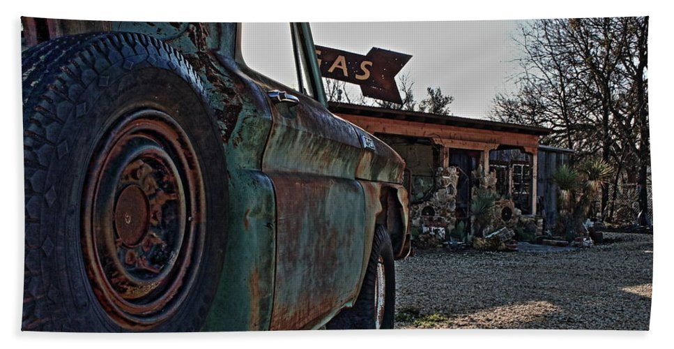 Gas Hand Towel featuring the photograph Gas And Truck by Daniel Koglin