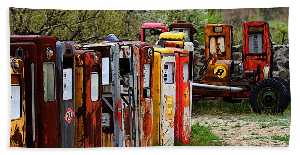 New Mexico Hand Towel featuring the photograph Gas Pump Conga Line In New Mexico by Catherine Sherman