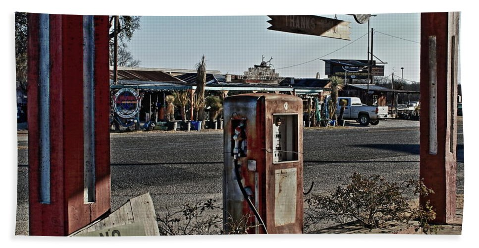 Gas Hand Towel featuring the photograph Gas Station by Daniel Koglin