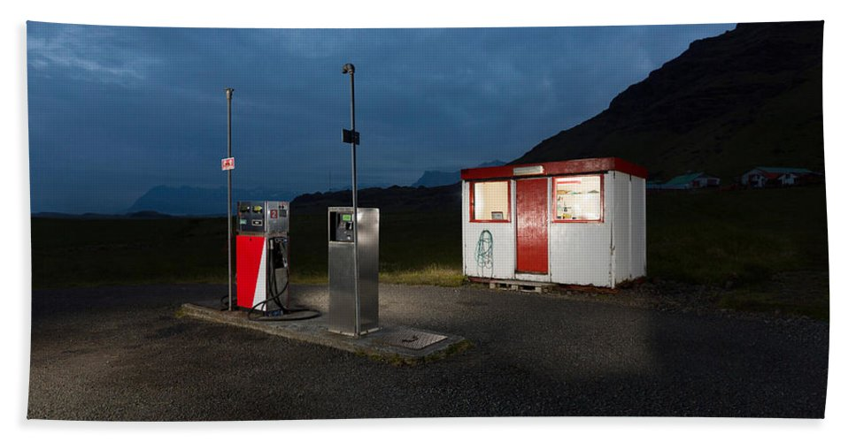 Photography Bath Sheet featuring the photograph Gas Station In The Countryside, South by Panoramic Images