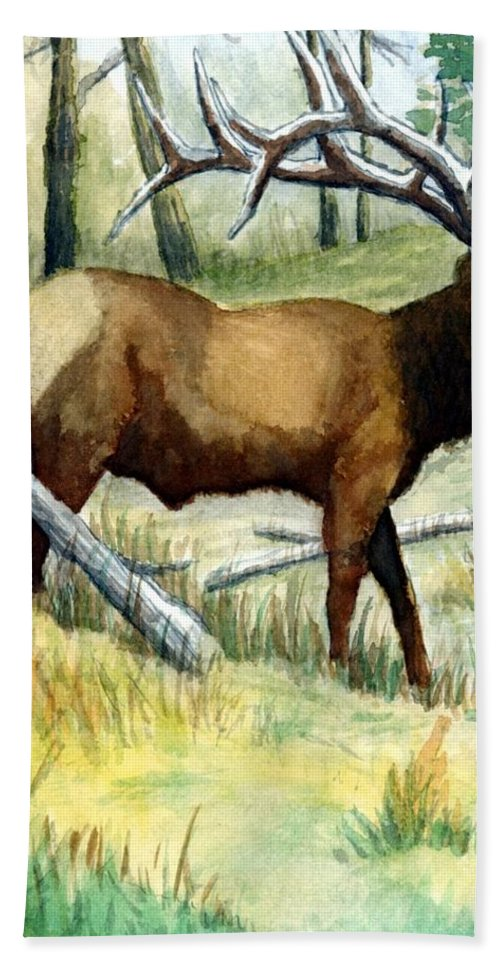 Wildlife Bath Sheet featuring the painting Gash Flats Bull by Jimmy Smith