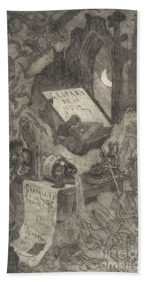 Hand Towel featuring the drawing Gaspard De La Nuit by F?licien Rops