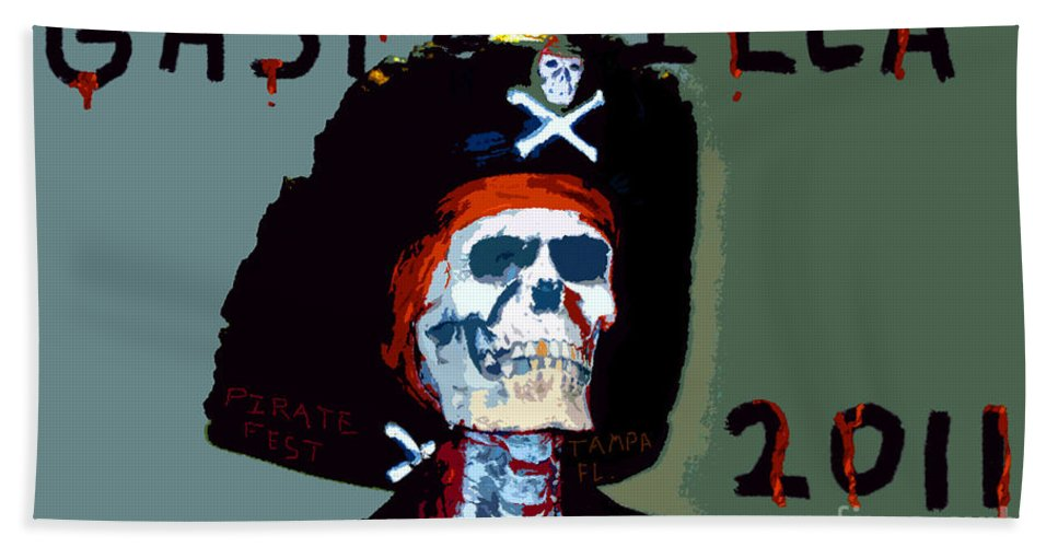 Gasparilla Pirate Festival Hand Towel featuring the painting Gasparilla 2011 Work Number Two by David Lee Thompson