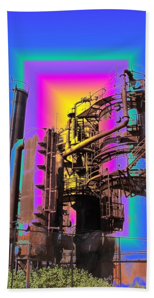 Seatttle Bath Sheet featuring the digital art Gasworks Park 2 by Tim Allen