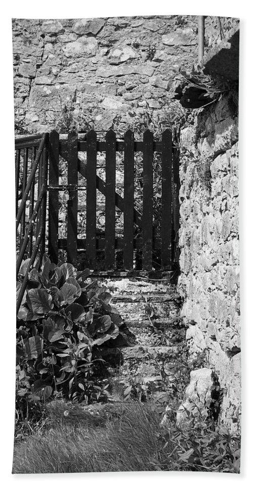 Irish Bath Towel featuring the photograph Gate At Dunguaire Castle Kinvara Ireland by Teresa Mucha