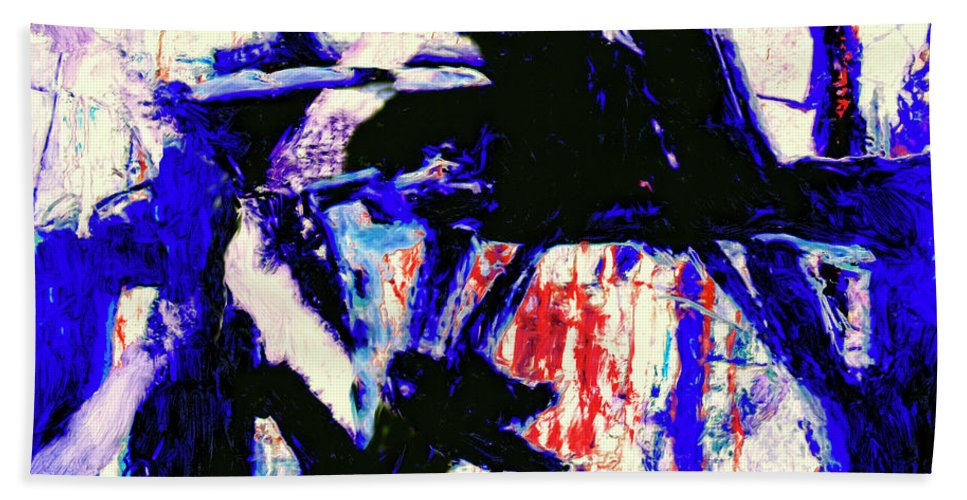 Abstract Hand Towel featuring the painting Gatekeeper by Dominic Piperata