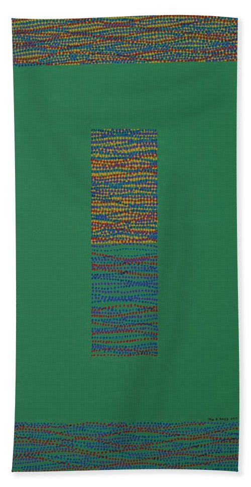 Green Bath Sheet featuring the painting Gates Of Nature 6 by Kyung Hee Hogg