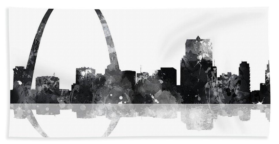 Gateway Arch St Louis Missouri Skyline Bath Sheet featuring the digital art Gateway Arch St Louis Missouri Skyline by Marlene Watson