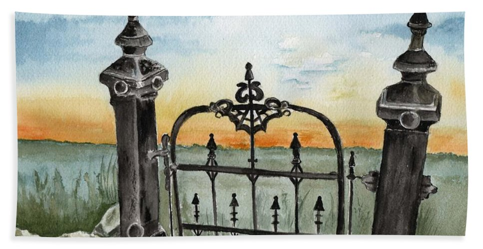 Gate Bath Towel featuring the painting Gateway by Brenda Owen