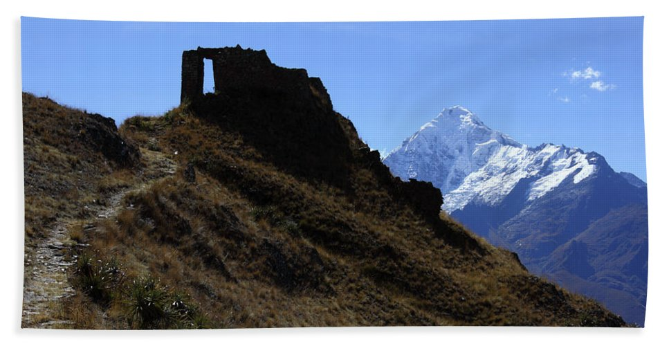 Peru Bath Sheet featuring the photograph Gateway To The Gods 1 by James Brunker