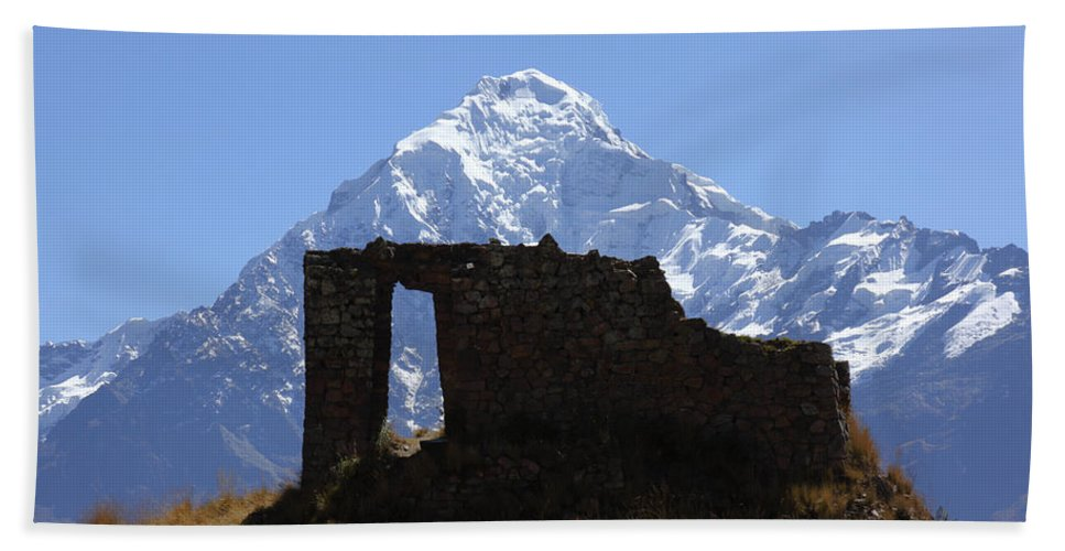 Peru Bath Sheet featuring the photograph Mt Veronica And Inti Punku Sun Gate by James Brunker