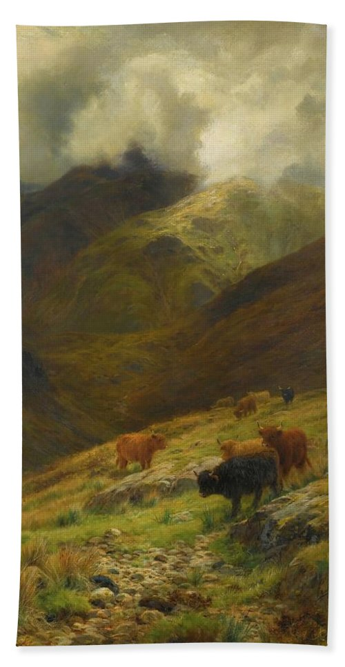 Louis Bosworth Hurt 1856 - 1929 Beneath The Gathering Mists Hand Towel featuring the painting Gathering Mists by Louis Bosworth