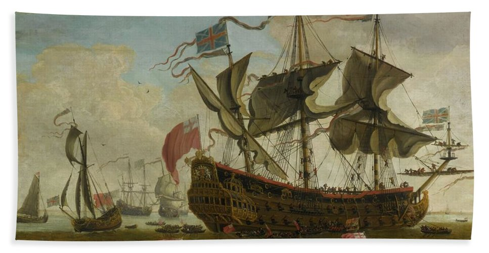 Circle Of Willem Van De Velde The Younger A Gathering Of English Ships Bath Sheet featuring the painting Gathering Of English Ships by MotionAge Designs
