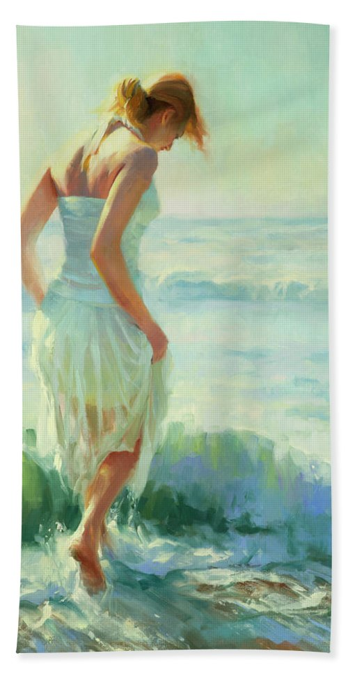 Seashore Bath Towel featuring the painting Gathering Thoughts by Steve Henderson