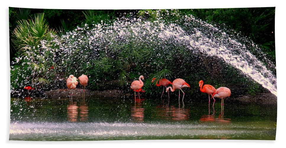 Flamingo Hand Towel featuring the photograph Gathering Together by Susanne Van Hulst