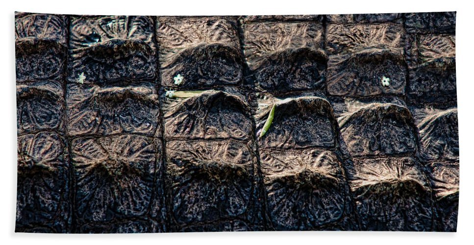 Alligator Hand Towel featuring the photograph Gator Armor by Christopher Holmes