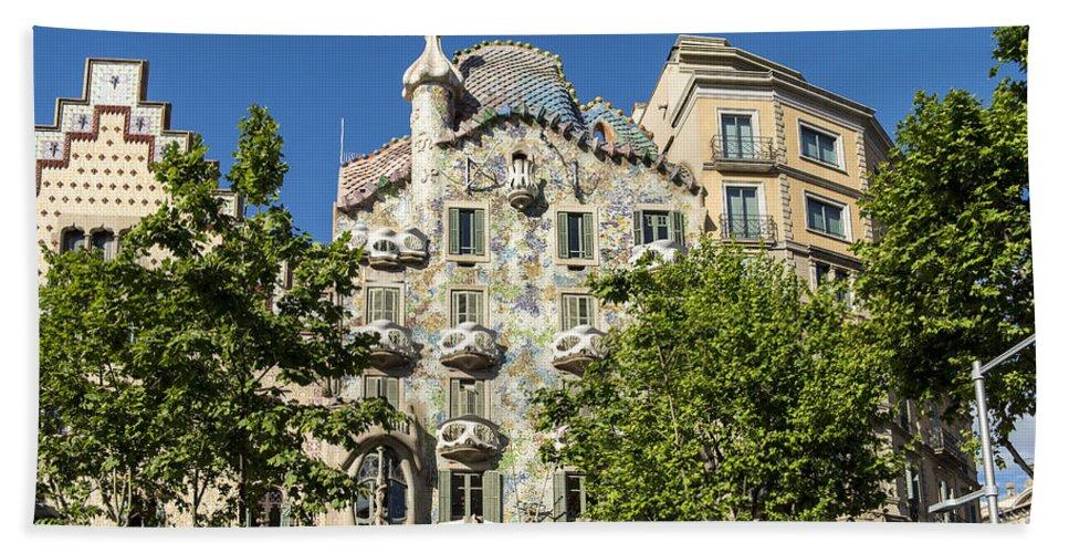 Barcelona Bath Sheet featuring the photograph Casa Batillo - Gaudi Designed - Barcelona Spain by Jon Berghoff