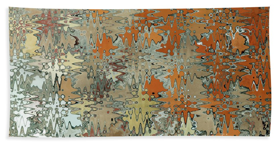 Abstract Bath Sheet featuring the digital art Gaudi Mozaic Abstraction by John Gaffen
