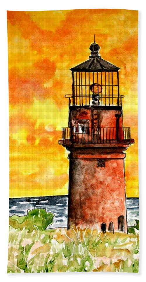 Beach Hand Towel featuring the painting Gay Head Lighthouse Martha's Vineyard by Derek Mccrea