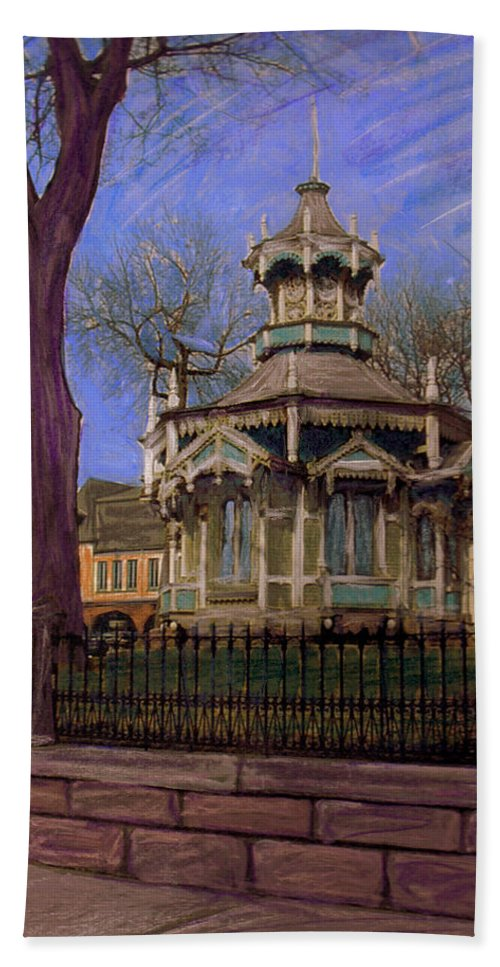 Gazabo Hand Towel featuring the mixed media Gazebo At Wisconsin Club by Anita Burgermeister