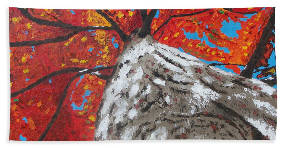 Tree Hand Towel featuring the painting Gazing Above by Ricklene Wren