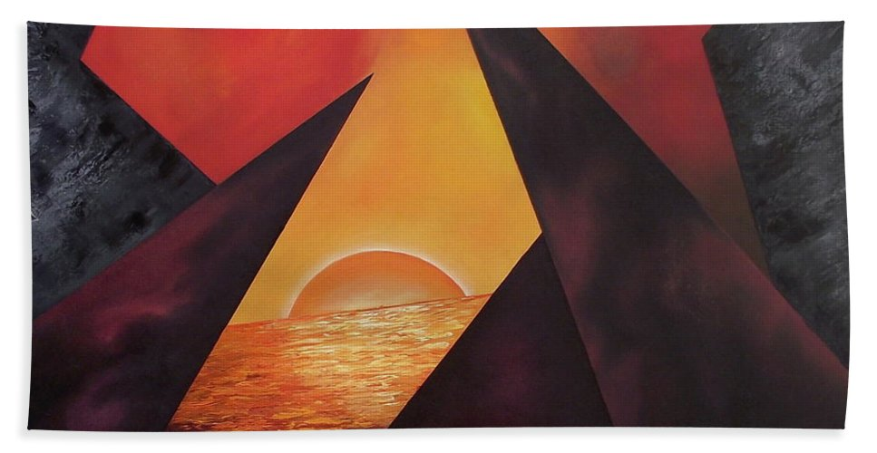 Bath Towel featuring the painting Gazing Beyound by Ara Elena