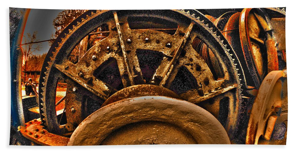 Clay Hand Towel featuring the photograph Gears Gone Mad by Clayton Bruster