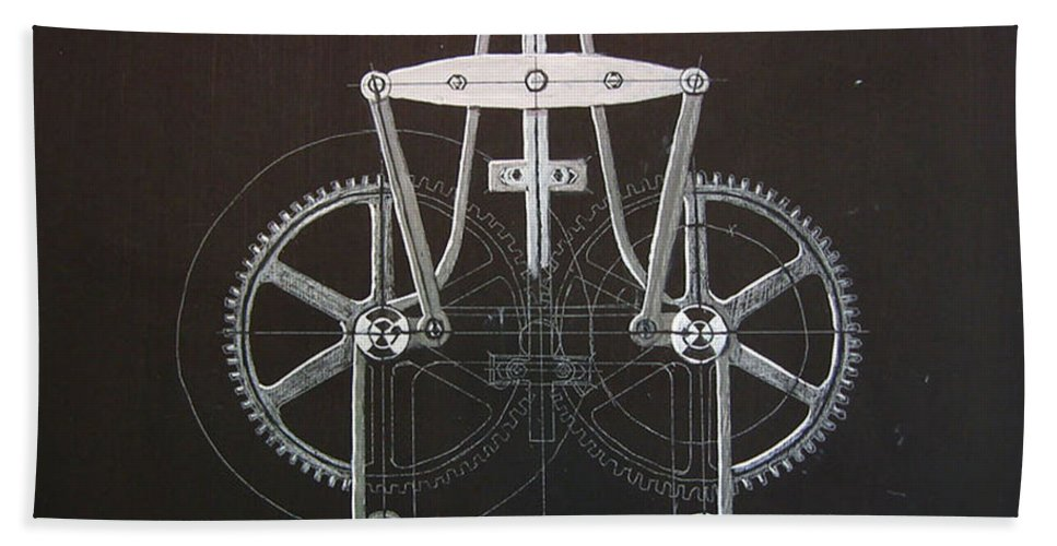 Gears Bath Sheet featuring the painting Gears No2 by Richard Le Page