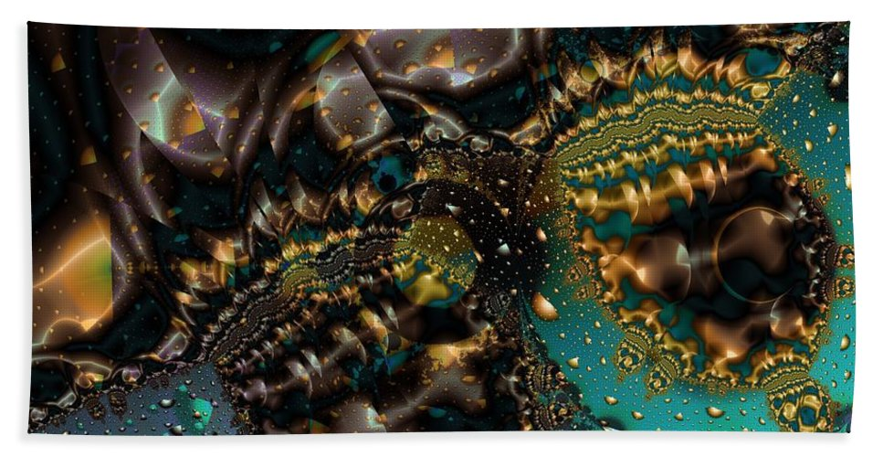Fractal Art Bath Towel featuring the digital art Gears Of The Universe Two by Ron Bissett