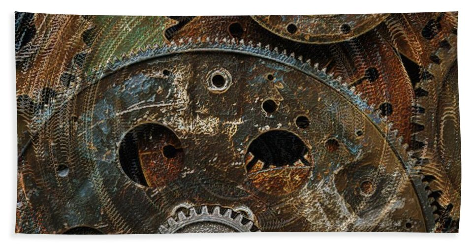 Gears Hand Towel featuring the photograph Gears by Tim Allen