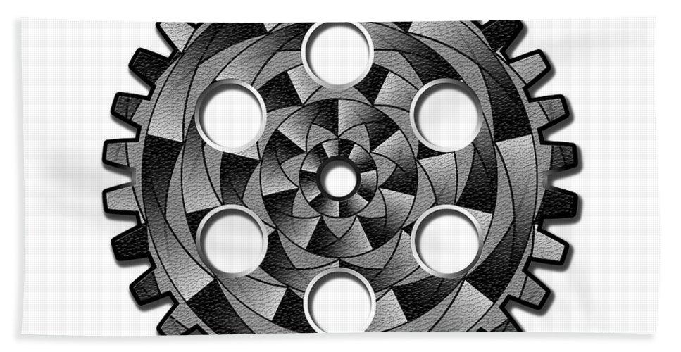Gearwheel Hand Towel featuring the digital art Gearwheel In Black And White by Gaspar Avila