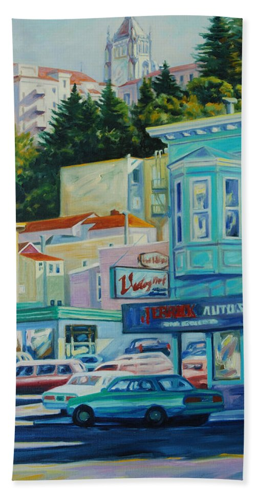 Cityscape Bath Towel featuring the painting Geary Street by Rick Nederlof